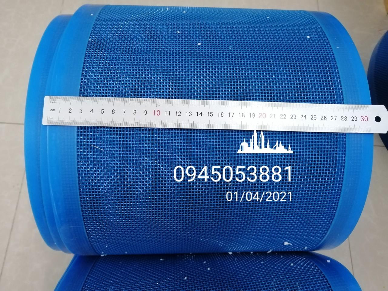 Băng tải lưới nhựa màu xanh, ô vuông an toàn vệ sinh, chịu nhiệt độ chất lượng cao