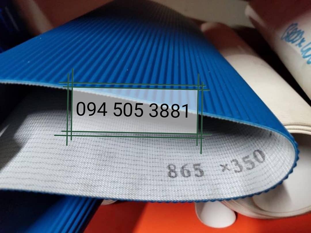 Băng tải PU sóng dầy 4mm màu xanh dương an toàn vệ sinh thực phẩm - FDA