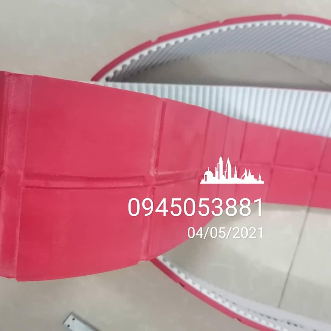 Dây curoa PU AT10 đắp cao su đỏ 5mm cho ROBOT vệ sinh Mặt Tấm Pin Mặt trời