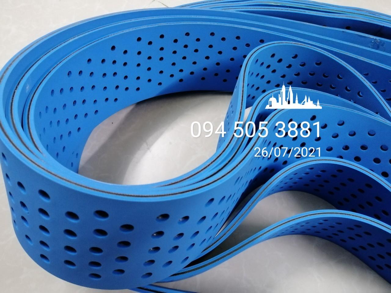 Dây đai dẹt xanh dương dầy 6mm đục lỗ | 6mm x W90 x CV1460mm| Dây đai Thiên Lộc