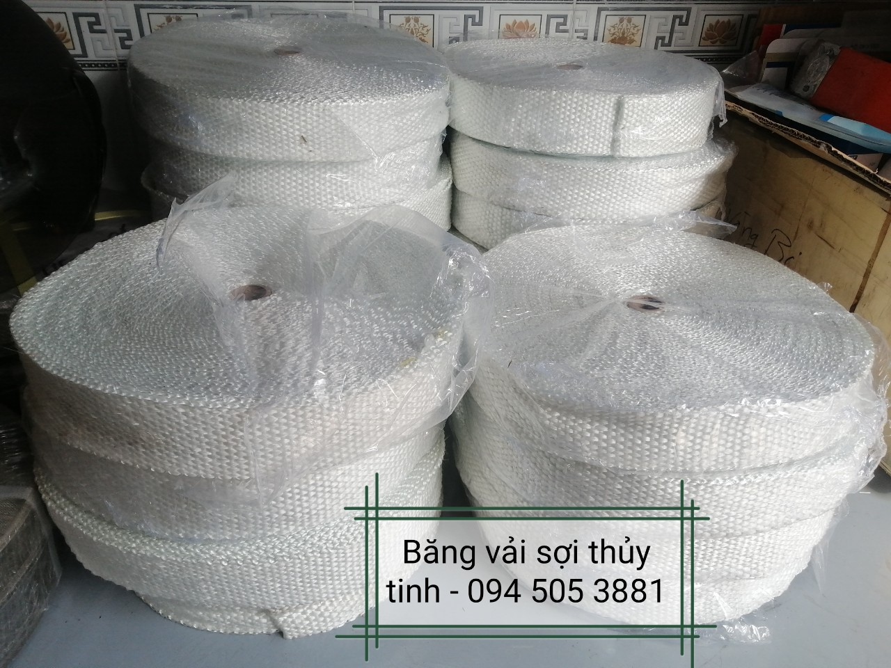 Vải sợi thủy tinh chịu nhiệt bản rộng 50mm, 100mm | Băng Vải Sợi Thủy Tinh trắng dầy 3mm